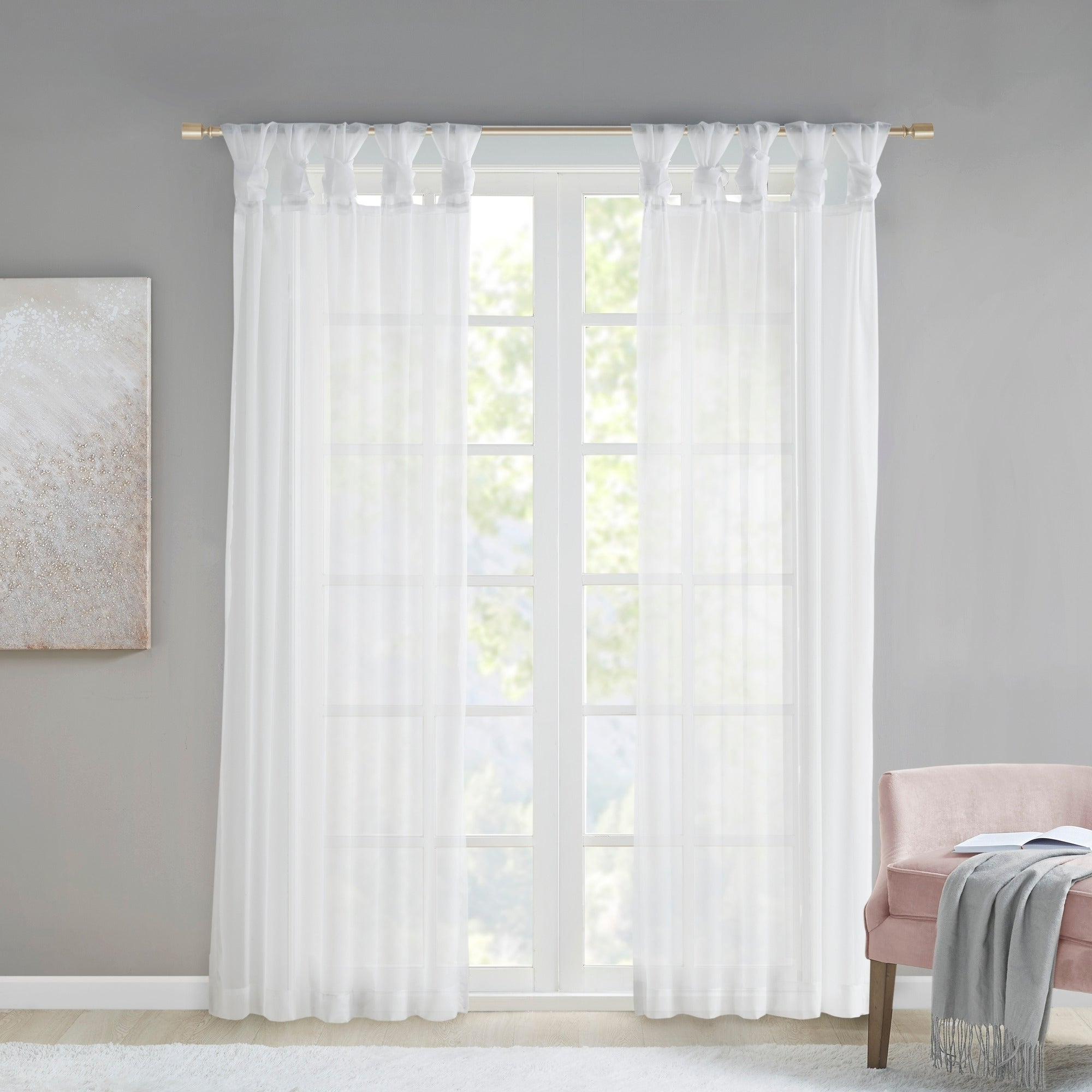Well Known Elowen White Twist Tab Voile Sheer Curtain Panel Pairs For Madison Park Elowen White Twist Tab Voile Sheer Curtain Panel Pair (View 3 of 20)