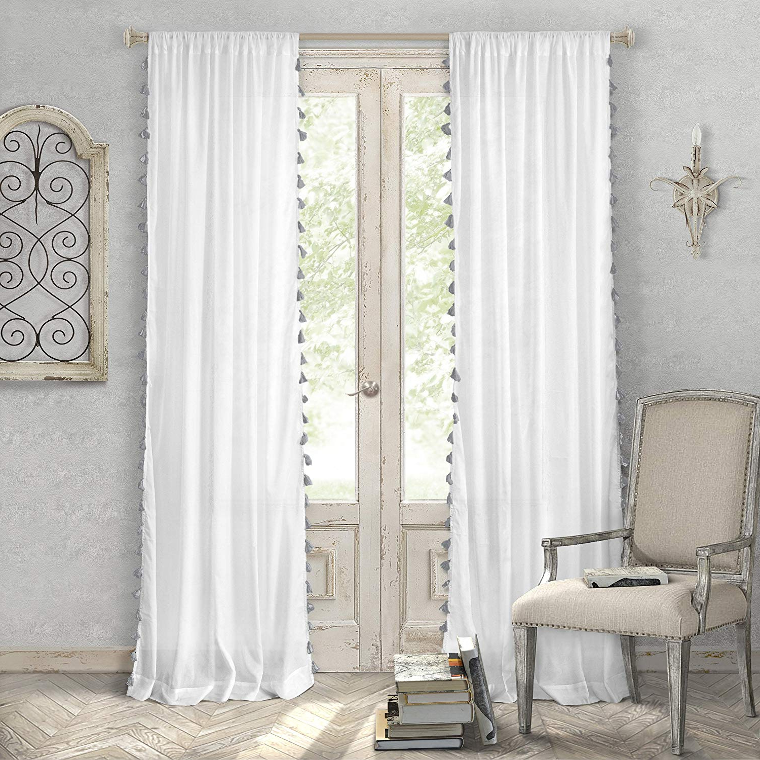 "Well Known Elrene Home Fashions Bianca Semi Sheer Rod Pocket Window Curtain Panel With  Tassels, 52"" X 84"" (1, Gray With Regard To Tassels Applique Sheer Rod Pocket Top Curtain Panel Pairs (View 18 of 20)"