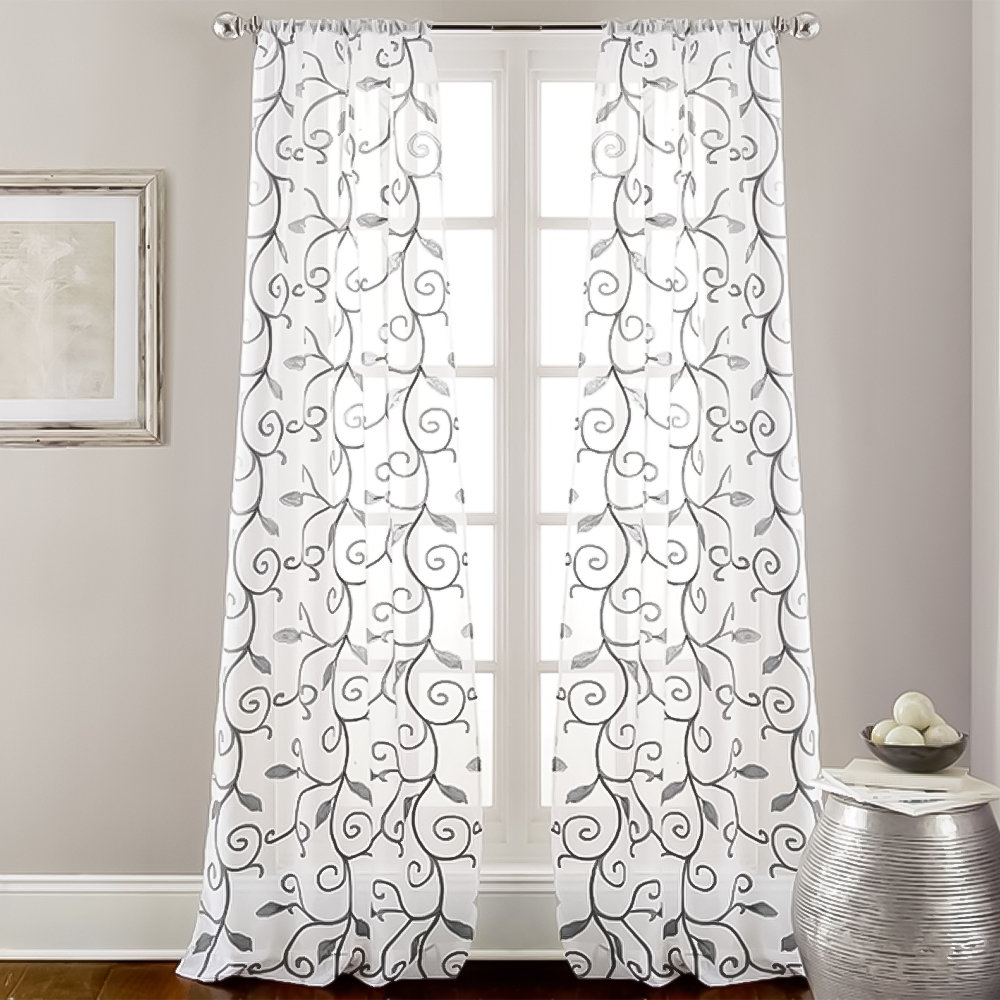 Well Known Eluxurysupply 2 Pack 37 X 84 Inch Embroidered Sheet Panel Curtains Gray Within Overseas Leaf Swirl Embroidered Curtain Panel Pairs (View 4 of 21)