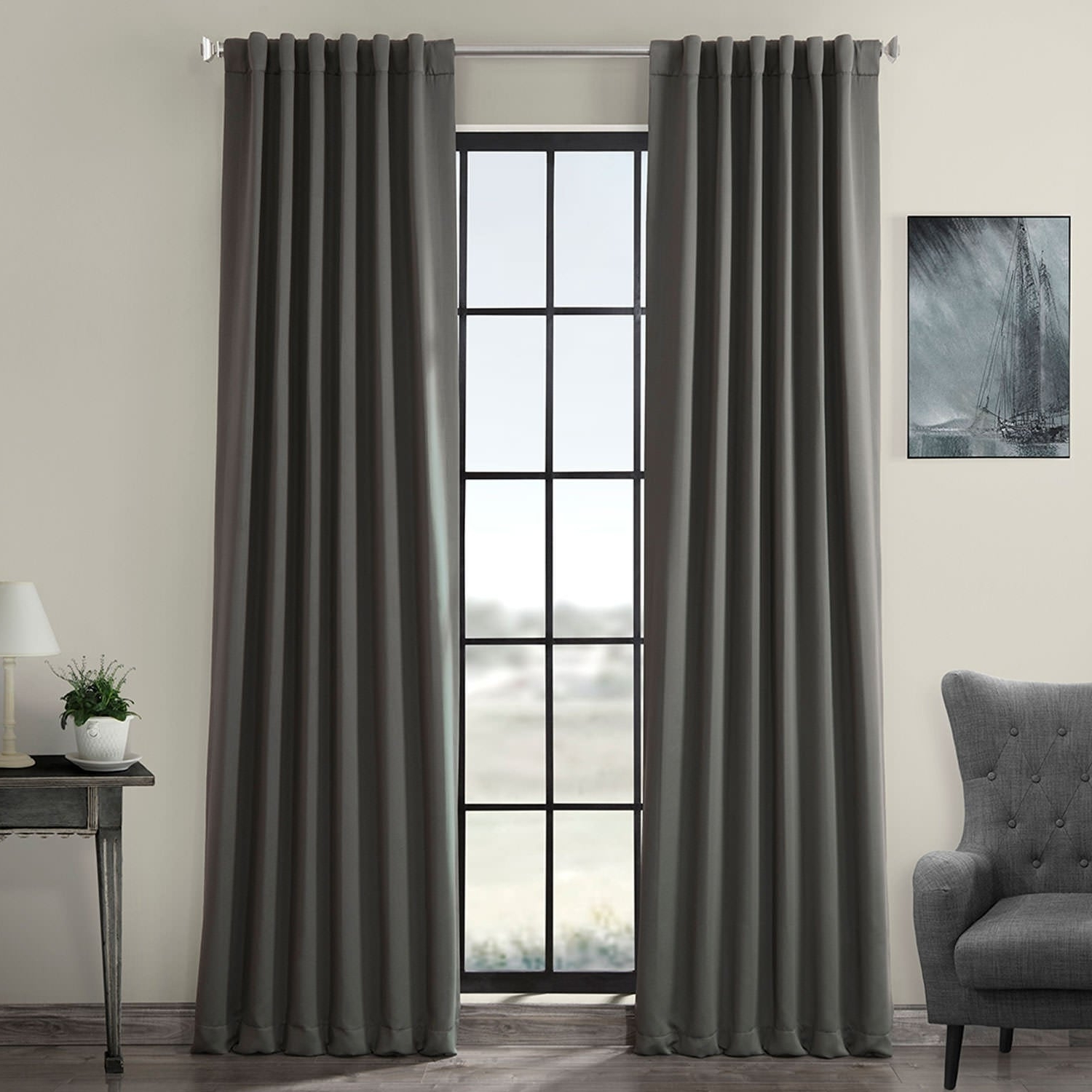 Well Known Exclusive Fabrics Charcoal Rod Pocket And Back Tab Blackout Curtain Panel  Pair Within Thermal Rod Pocket Blackout Curtain Panel Pairs (View 17 of 20)