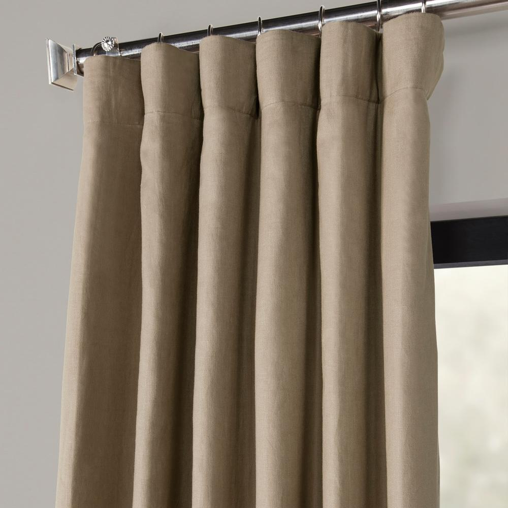 Well Known Exclusive Fabrics & Furnishings Flax Beige French Linen Curtain – 50 In. W  X 108 In (View 20 of 20)
