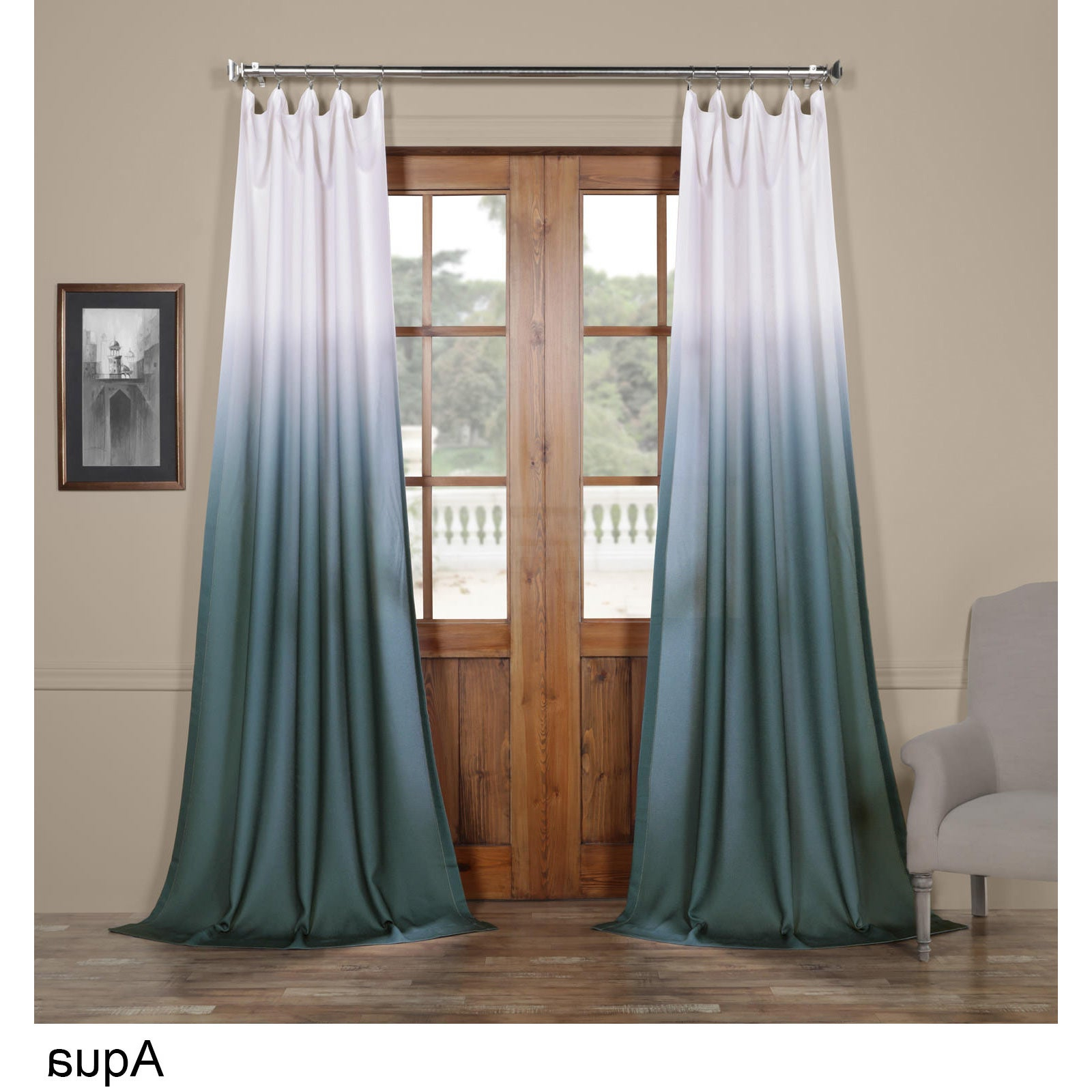 """Well Known Exclusive Fabrics Ombre Faux Linen Semi Sheer Curtain 96"""" In Aqua (As Is  Item) (View 20 of 20)"""