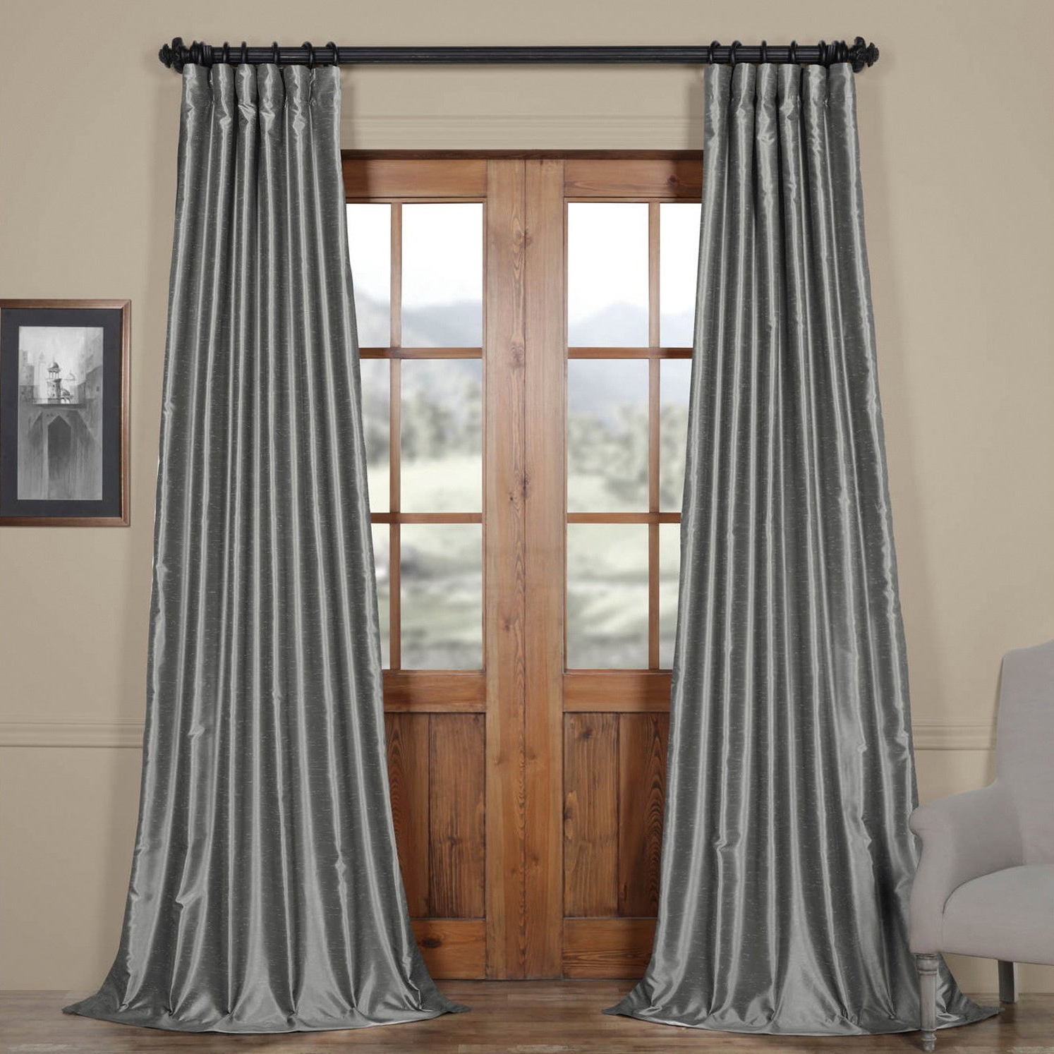 Featured Photo of Storm Grey Vintage Faux Textured Dupioni Single Silk Curtain Panels
