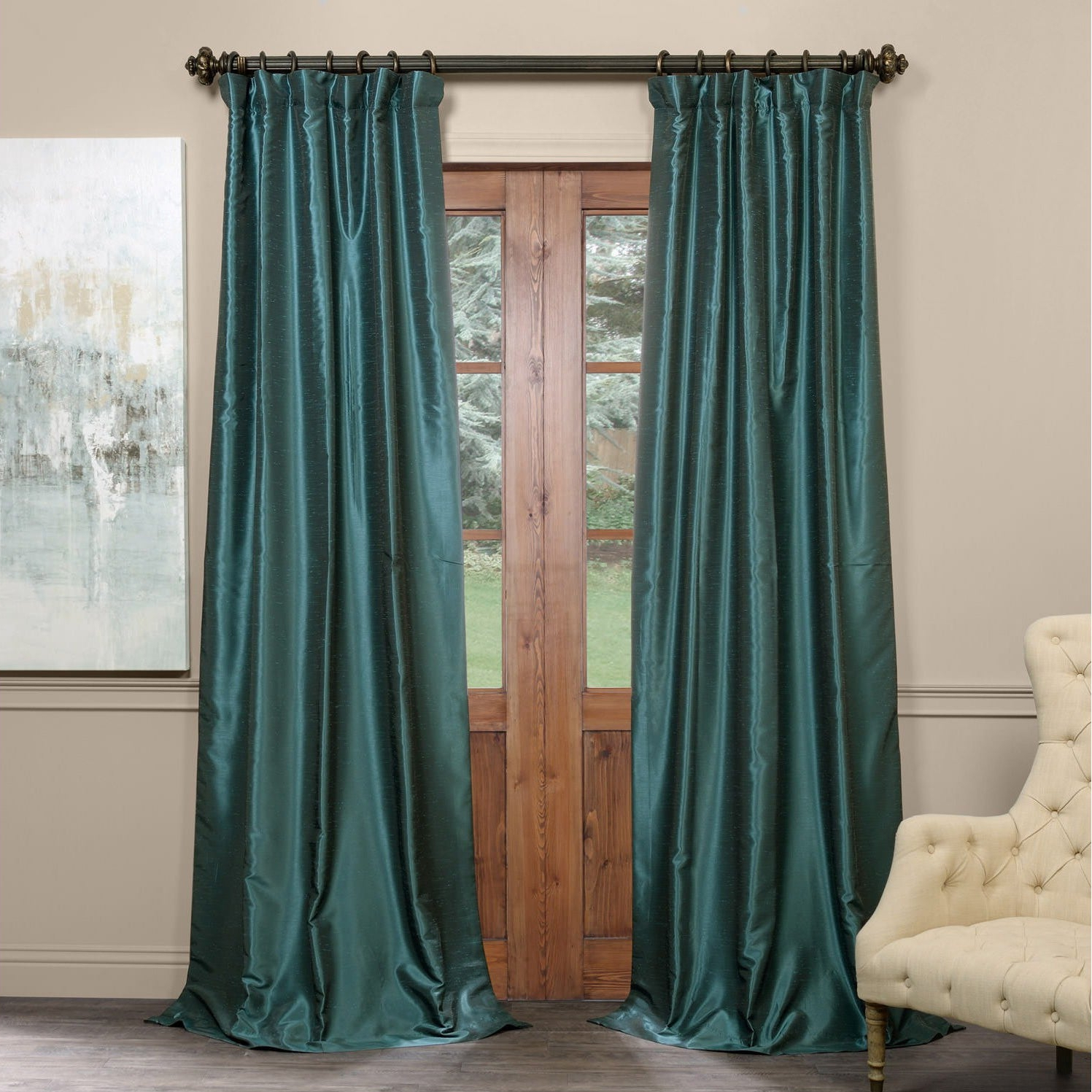 Well Known Exclusive Fabrics True Blackout Vintage Textured Faux Dupioni Silk Curtain Panel Inside Vintage Textured Faux Dupioni Silk Curtain Panels (View 13 of 20)