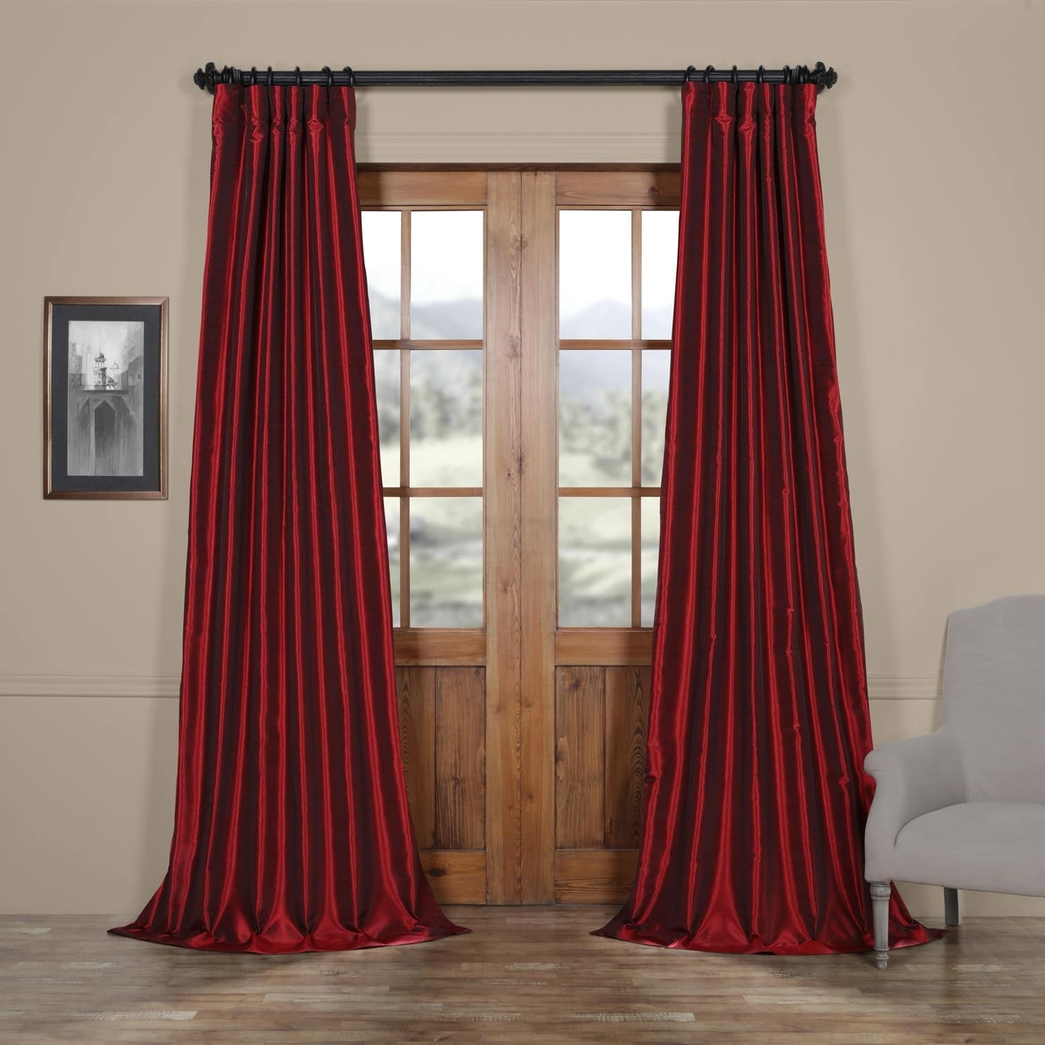 Well Known Exclusive Fabrics True Blackout Vintage Textured Faux Dupioni Silk Curtain Panel Intended For True Blackout Vintage Textured Faux Silk Curtain Panels (View 5 of 20)