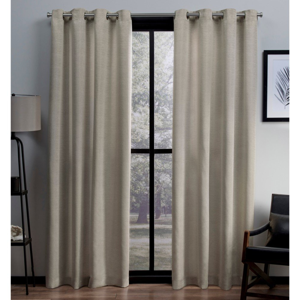 Well Known Exclusive Home Virenze Faux Silk Grommet Top Curtain Panel Pair, Taupe, 54x96 In Raw Silk Thermal Insulated Grommet Top Curtain Panel Pairs (View 9 of 20)
