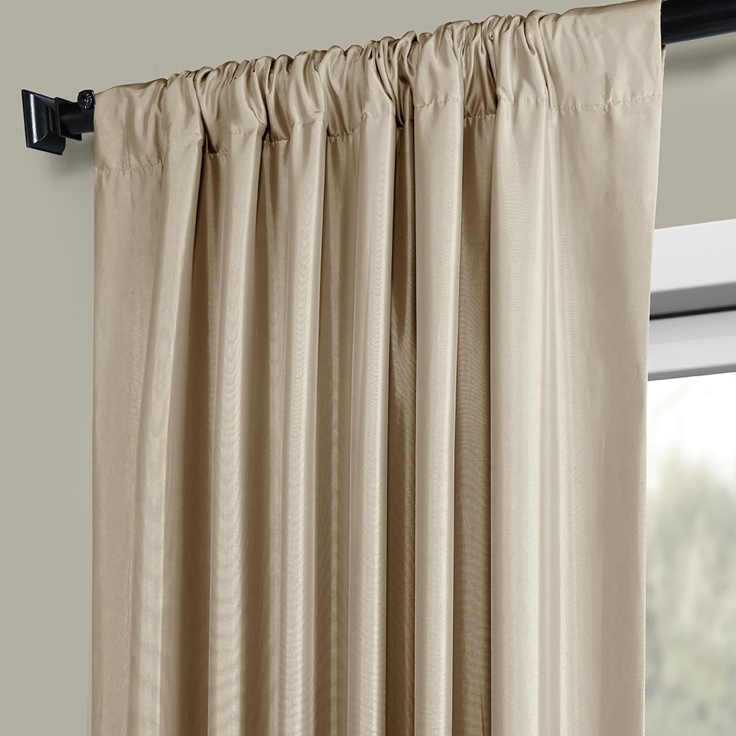 Well Known Faux Silk Taffeta Solid Blackout Single Curtain Panel Intended For Faux Silk Taffeta Solid Blackout Single Curtain Panels (View 20 of 20)