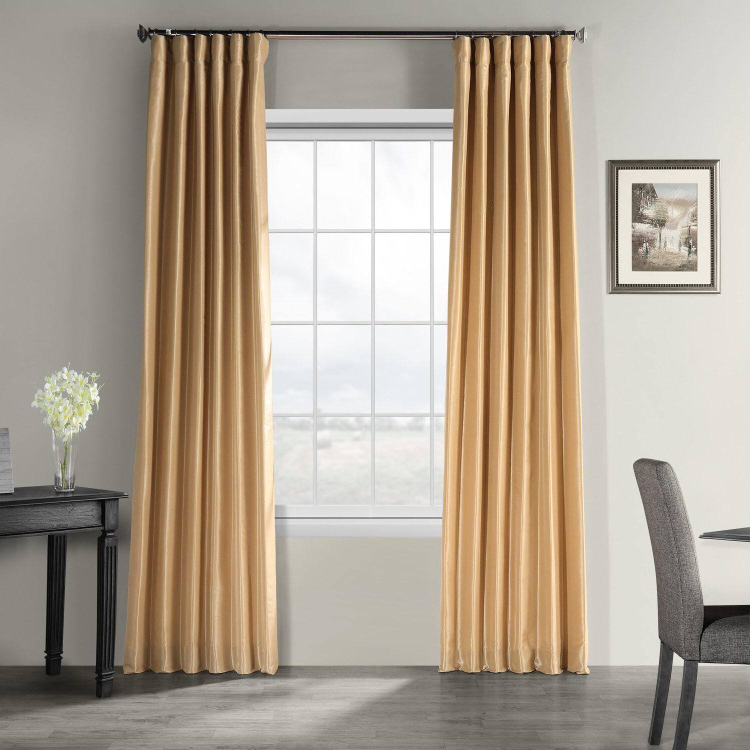 Well Known Forbell Solid Vintage Textured Faux Dupioni Silk Rod Pocket Single Curtain Panel Pertaining To Vintage Textured Faux Dupioni Silk Curtain Panels (View 2 of 20)