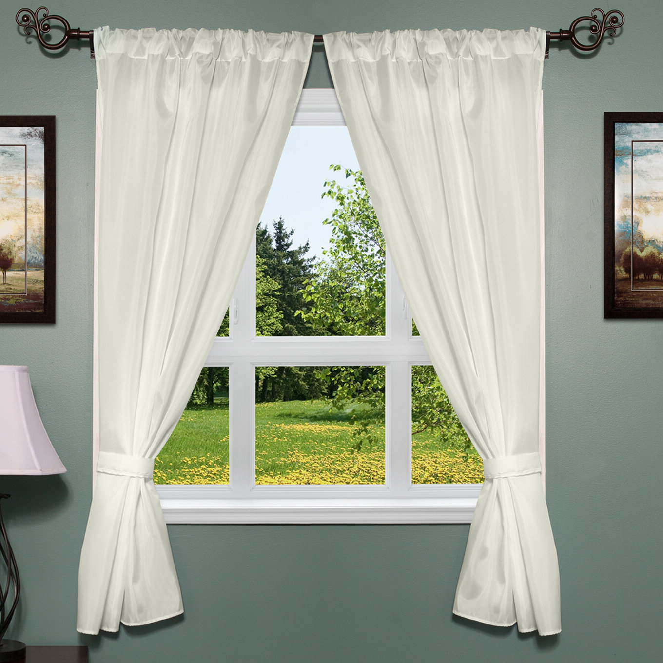 Well Known Freemanstown Classic Window Treatment Set Throughout Classic Hotel Quality Water Resistant Fabric Curtains Set With Tiebacks (View 5 of 20)