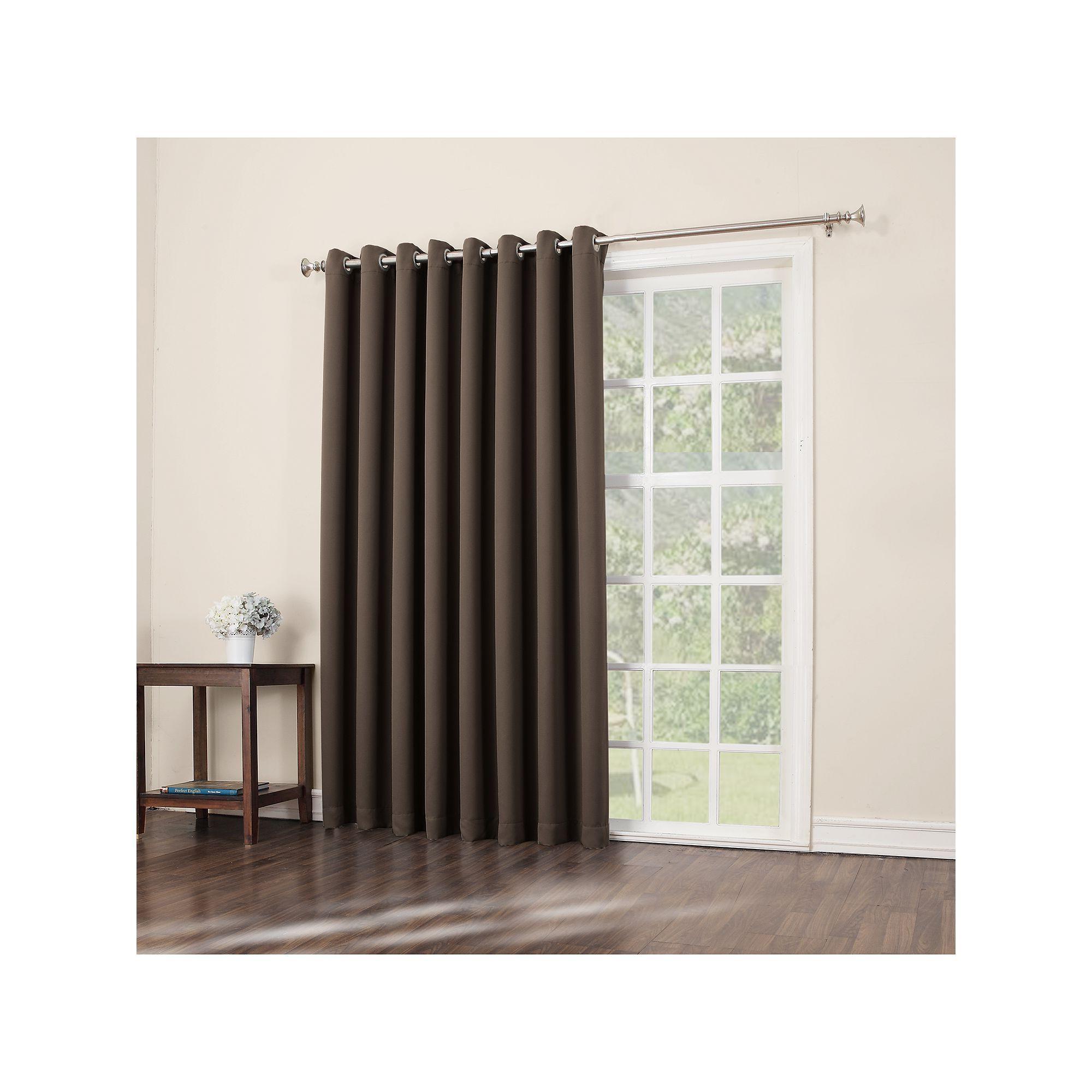 Well Known Grommet Blackout Patio Door Window Curtain Panels Regarding Sun Zero Blackout 1 Panel Ludlow Patio Door Window Curtain (View 6 of 20)