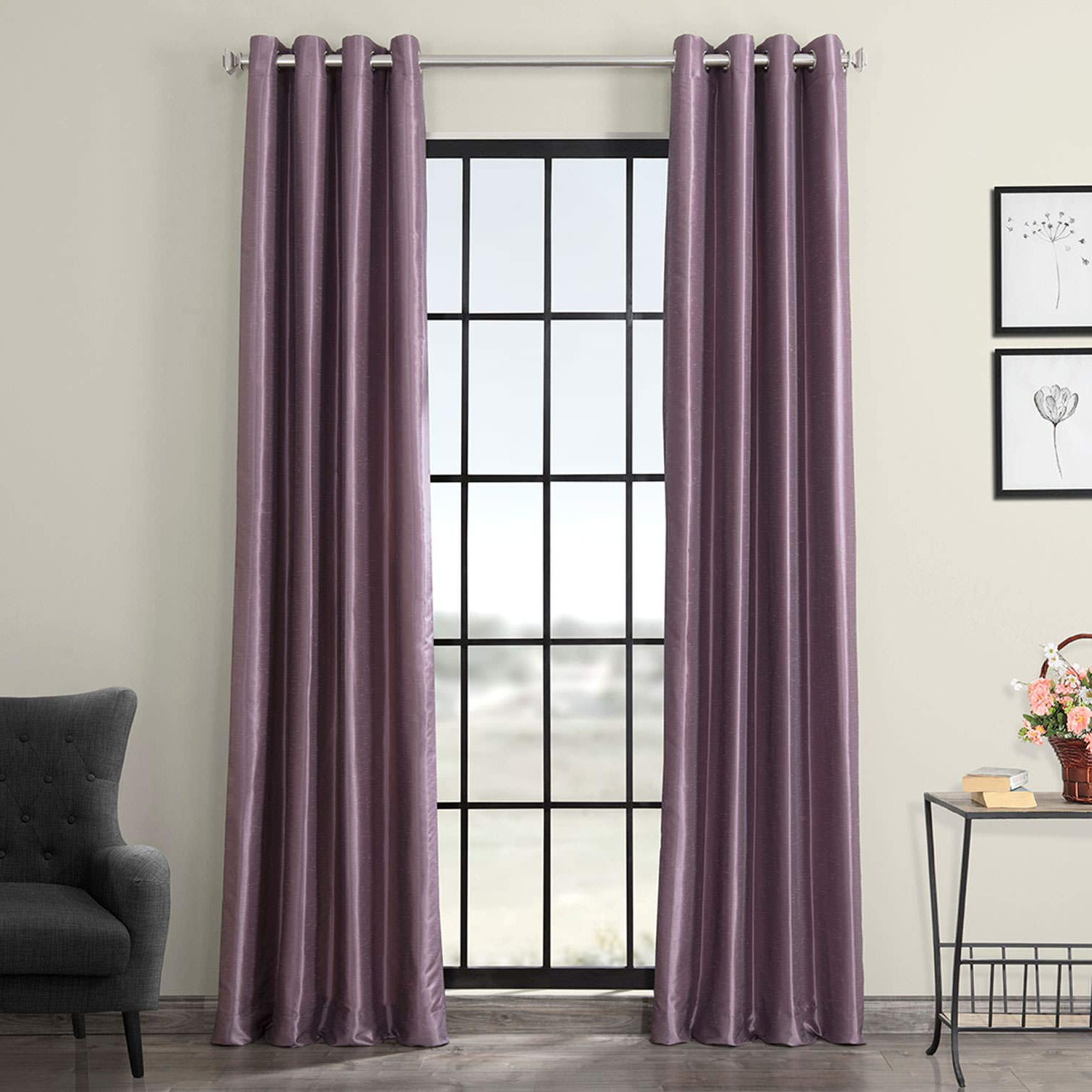 Well Known Half Price Drapes Pdch Kbs11 84 Grbo Grommet Blackout Vintage Textured Faux Dupioni Silk Curtain, Smokey Plum For True Blackout Vintage Textured Faux Silk Curtain Panels (View 12 of 20)