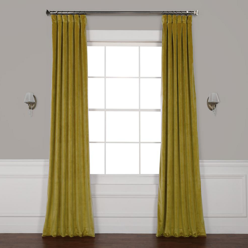 Well Known Heritage Plush Velvet Curtains Intended For Exclusive Fabrics & Furnishings Peat Green Heritage Plush Velvet Curtain –  50 In. W X 120 In (View 19 of 20)