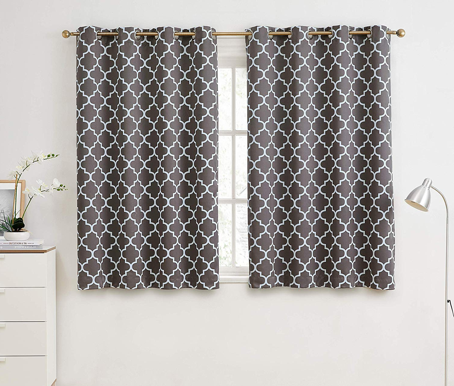 """Well Known Hlc Lattice Print Thermal Insulated Room Darkening Blackout Window Grommet Curtains For Bedroom & Living Room – Grey – 52"""" W X 63"""" L – Pair With Regard To Moroccan Style Thermal Insulated Blackout Curtain Panel Pairs (View 17 of 20)"""