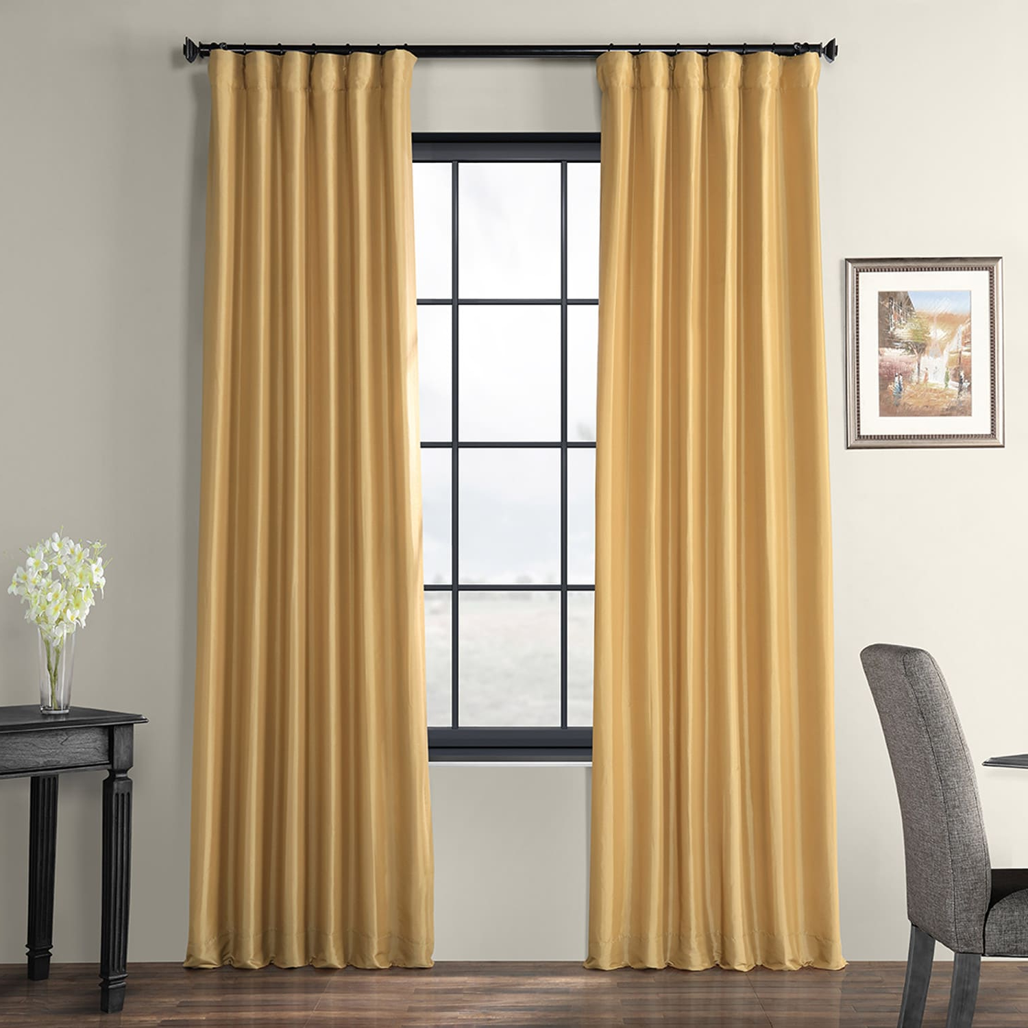 Well Known Honey Faux Silk Taffeta Curtain With Regard To Solid Faux Silk Taffeta Graphite Single Curtain Panels (View 13 of 20)