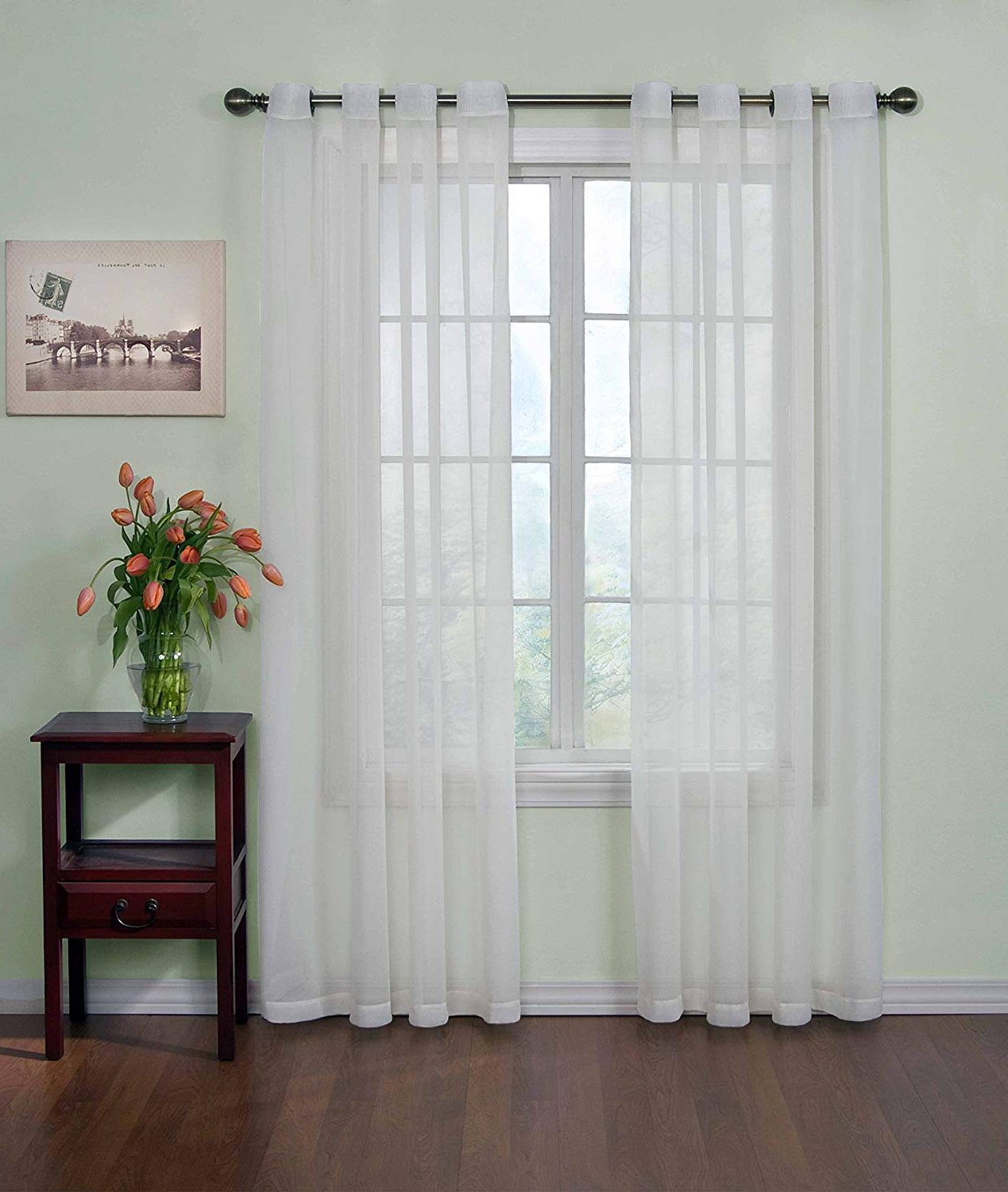 """Well Known Light Filtering Sheer Single Curtain Panels Intended For Curtain Fresh Sheer Curtains For Bedroom – Arm And Hammer 59"""" X 84"""" Light Filtering Single Panel Grommet Top Window Treatment For Living Room, White (View 4 of 20)"""