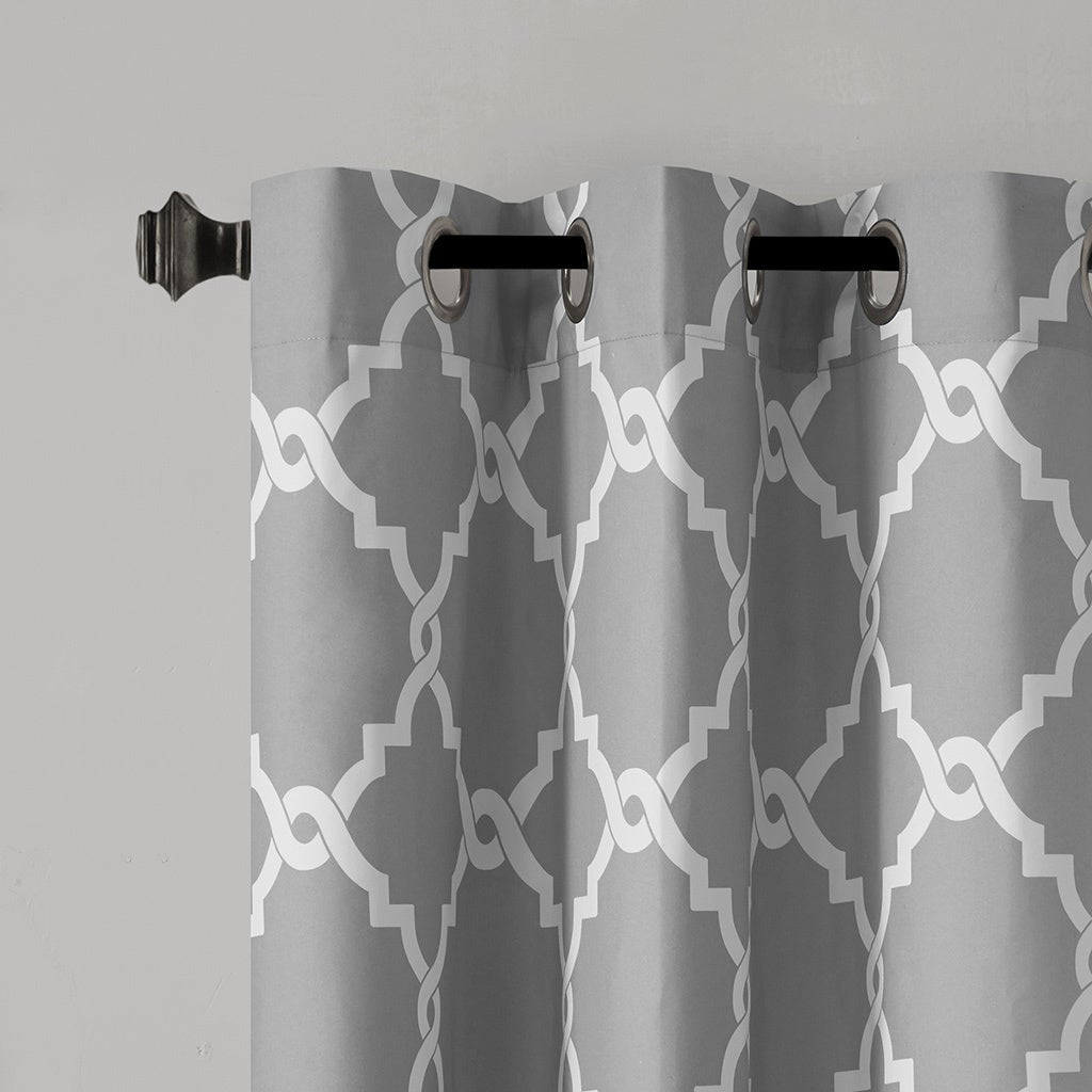 Well Known Madison Park Essentials Almaden Fretwork Printed Grommet Top Curtain Panel Pair With Regard To Essentials Almaden Fretwork Printed Grommet Top Curtain Panel Pairs (View 5 of 20)