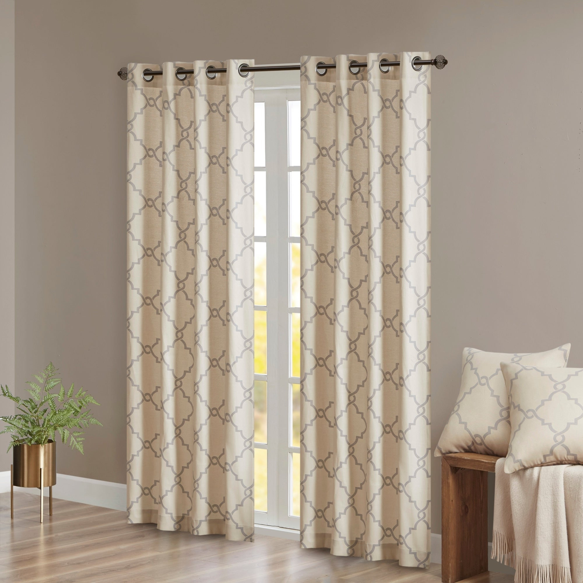 Well Known Madison Park Westmont Fretwork Print Pattern Single Curtain Panel In Fretwork Print Pattern Single Curtain Panels (View 18 of 20)