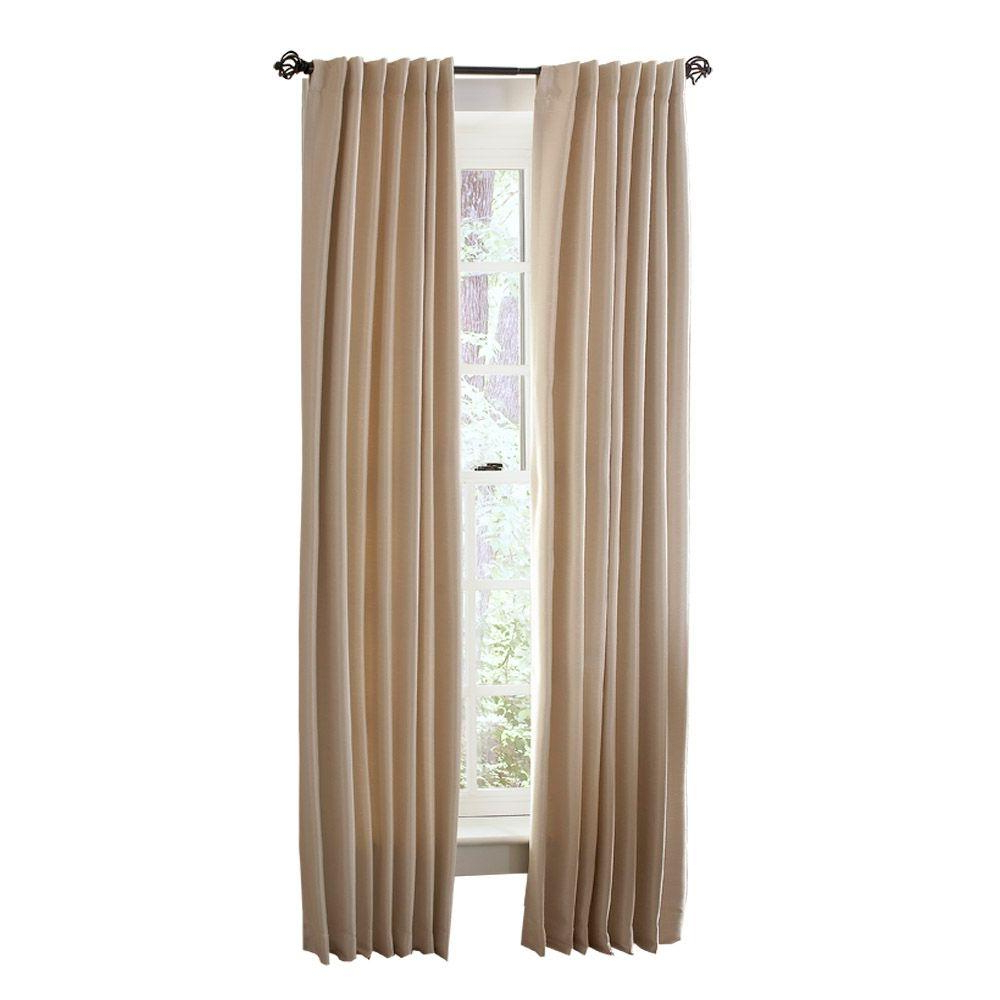 Well Known Martha Stewart Living Semi Opaque Heavy Cream Faux Silk Room Darkening Back Tab Curtain Within Heavy Faux Linen Single Curtain Panels (View 19 of 20)