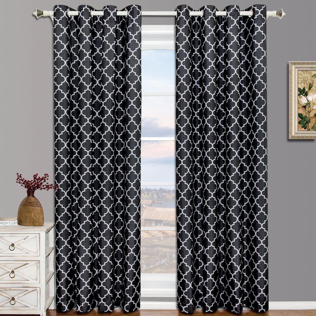 Well Known Meridian Blackout Window Curtain Panels Throughout Pair Of Two Top Grommet Blackout Thermal Insulated Curtain Panels, Triple Pass Foam Back Layer, Elegant And Contemporary Meridian Blackout Panels, (View 15 of 20)