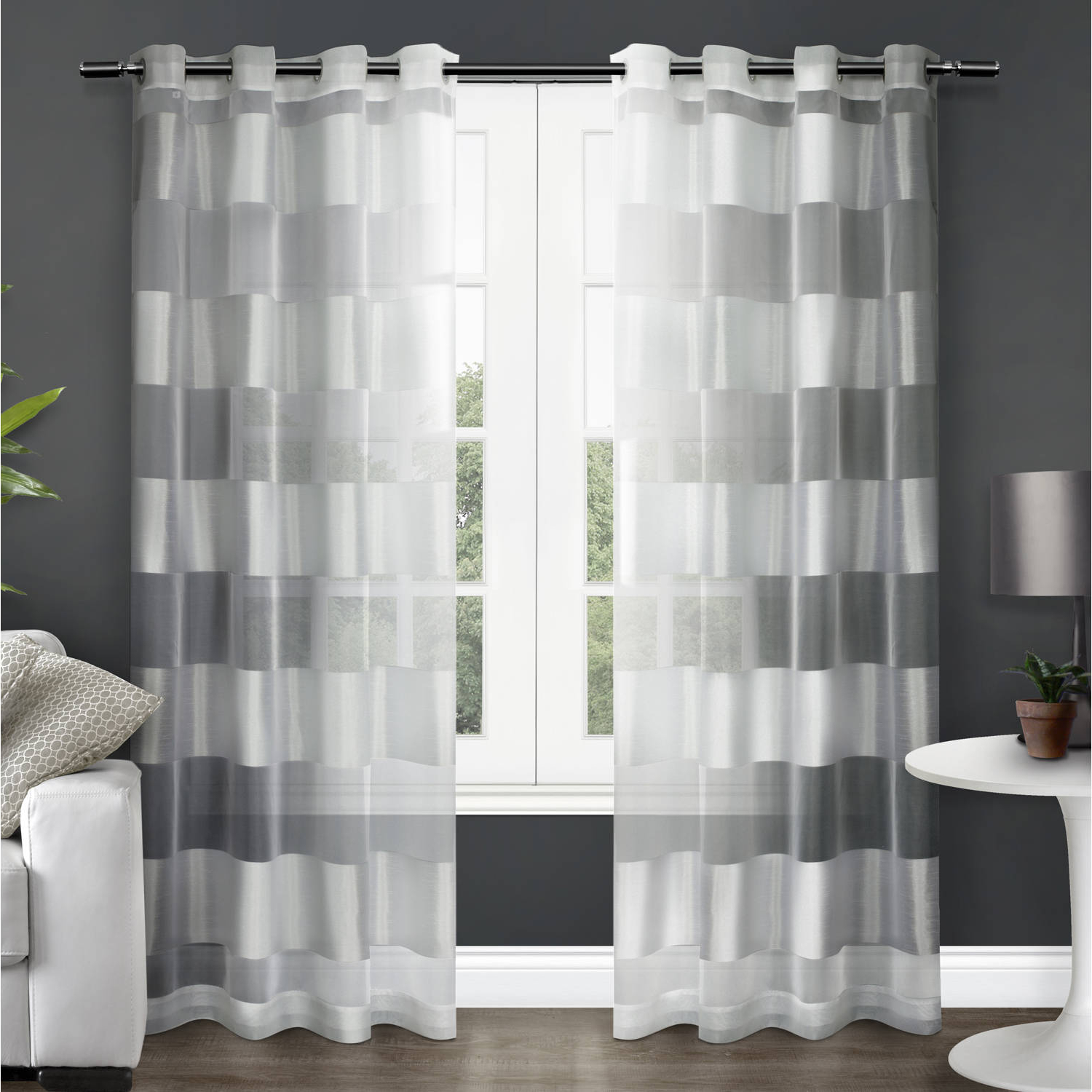 Well Known Ocean Striped Window Curtain Panel Pairs With Grommet Top With Regard To Exclusive Home Curtains 2 Pack Navaro Striped Sheer Grommet Top Curtain Panels (View 9 of 20)