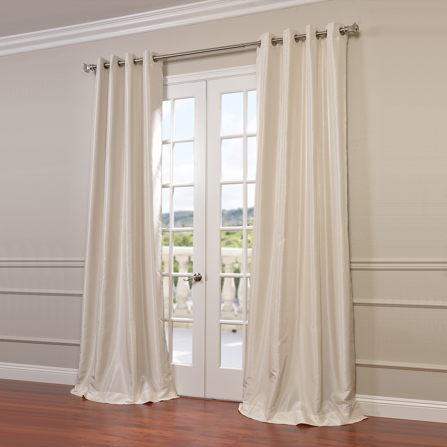 Well Known Off White Vintage Faux Textured Silk Curtains Regarding Half Price Drapes Pdch Kbs2 84 Grbo Grommet Blackout Vintage Textured Faux  Dupioni Silk Curtain, Off White (View 20 of 20)