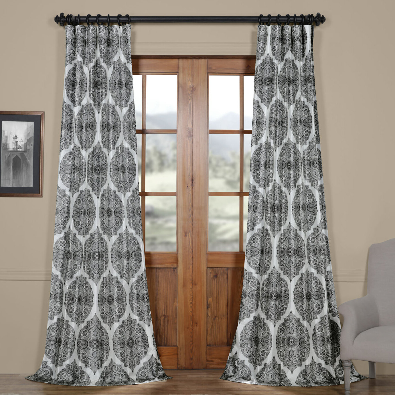 Well Known Omara Printed Faux Silk Taffeta Blackout Single Curtain Panel With Regard To Faux Silk Extra Wide Blackout Single Curtain Panels (View 16 of 20)