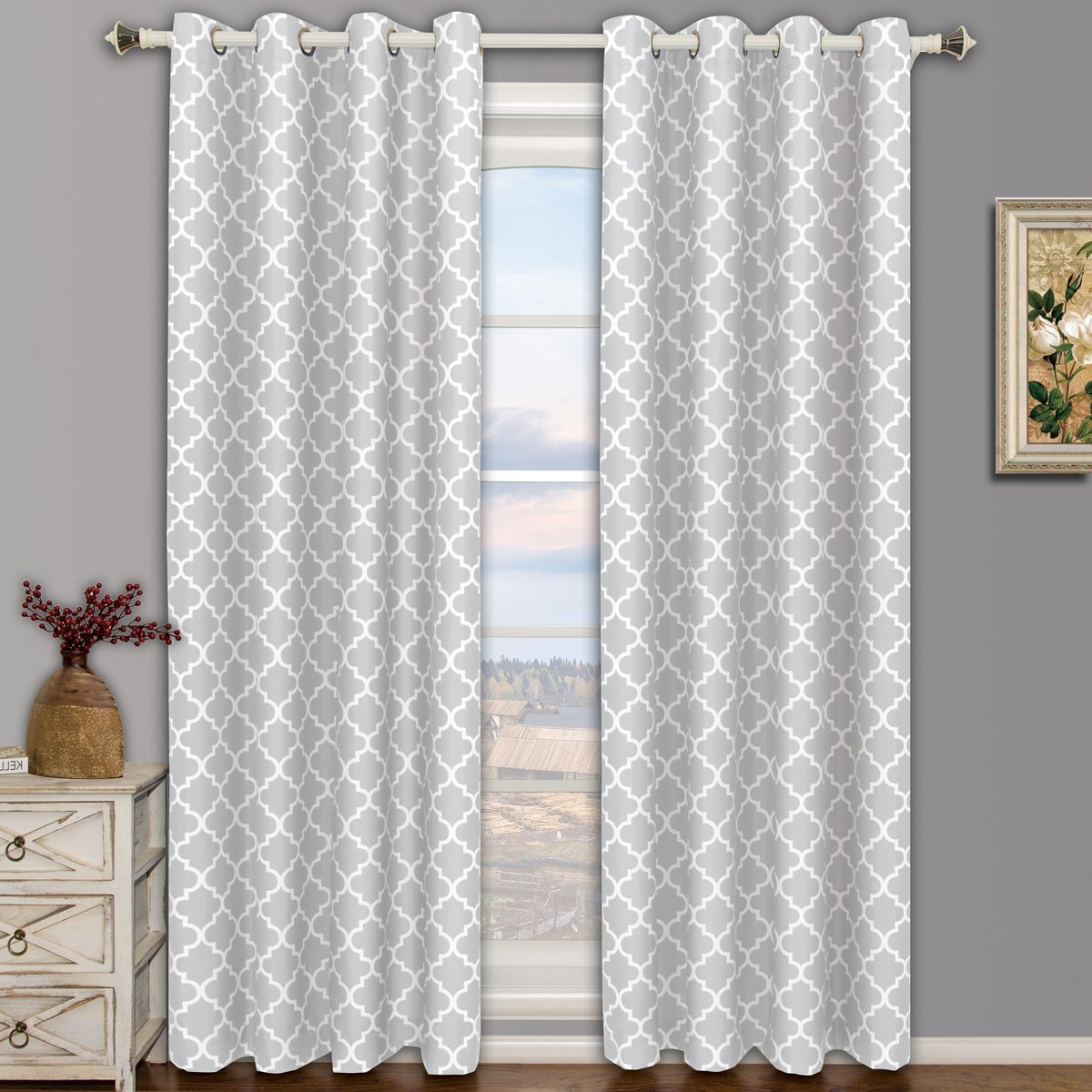 """Well Known Pair Of Two Top Grommet Meridian Blackout Thermal Insulated Curtain Panels, Triple Pass Foam Back Layer, Silver, Set Of Two 52""""108"""" Panels (104"""" With Meridian Blackout Window Curtain Panels (View 7 of 20)"""