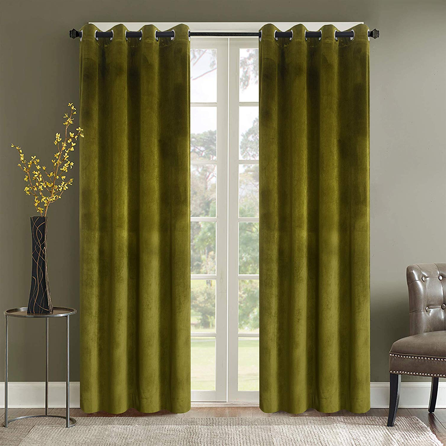 Well Known Roslyn Blackout Soft Luxury Velvet Olive Green Curtains Panels For Bedroom – Window Treatment Thermal Insulated Solid Grommet Blackout Drapes For Regarding Velvet Dream Silver Curtain Panel Pairs (View 18 of 20)