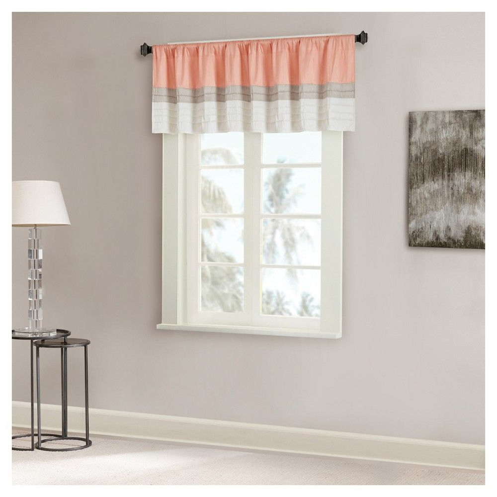 "Well Known Salem Polyoni Pintuck Window Valance Coral (Pink) (50""x18 With Chester Polyoni Pintuck Curtain Panels (View 20 of 20)"