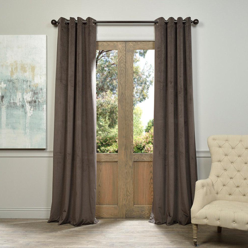 Well Known Signature Blackout Velvet Curtains In Exclusive Fabrics & Furnishings Blackout Signature Gunmetal Grey Grommet  Blackout Velvet Curtain – 50 In. W X 120 In (View 19 of 20)