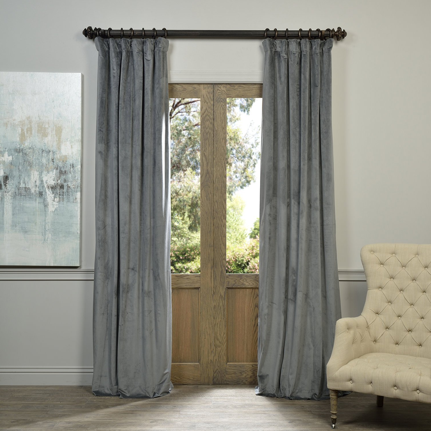 Well Known Signature Blackout Velvet Curtains Inside Half Price Drapes Vpch 184005 84 Signature Blackout Velvet Curtain, Natural  Grey, 50 X  (View 18 of 20)