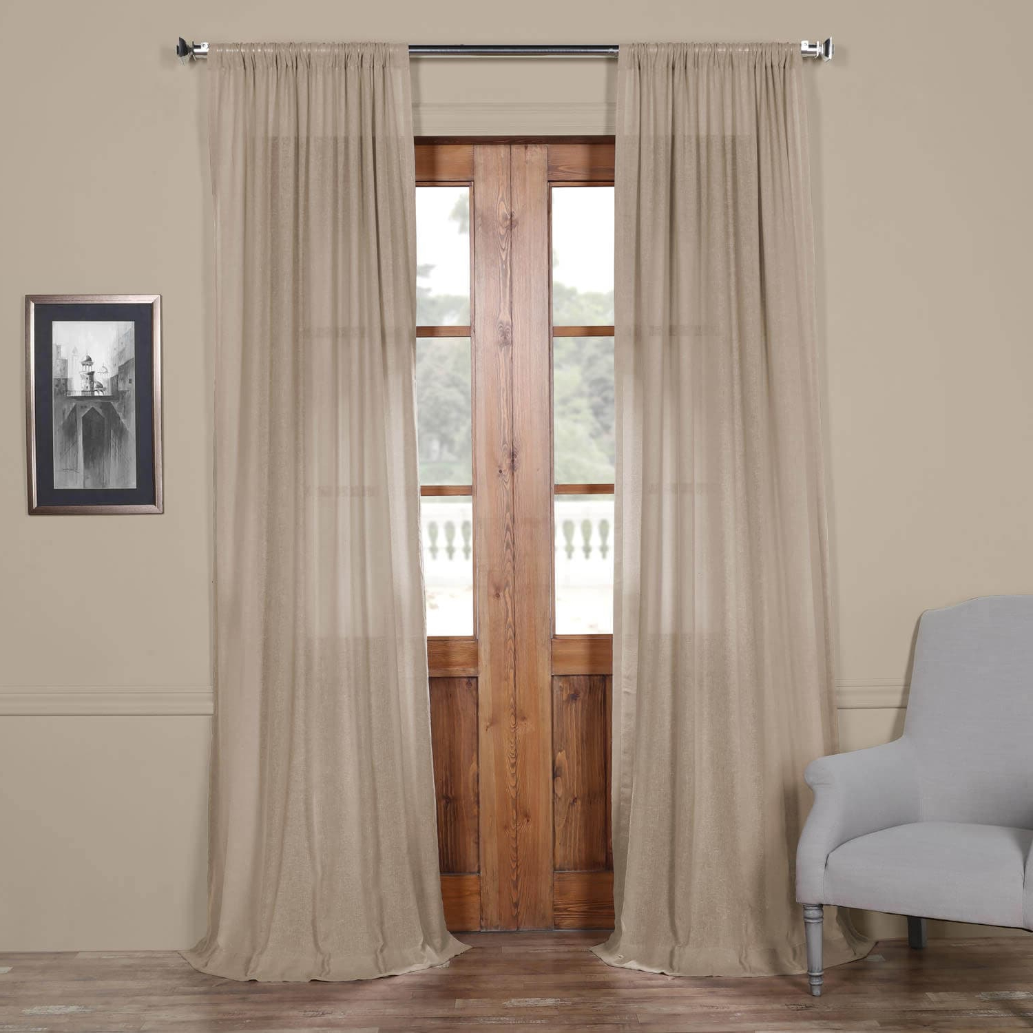 Well Known Signature French Linen Curtain Panels With Regard To Vintage Peony Faux Linen Sheer Curtain (View 17 of 20)