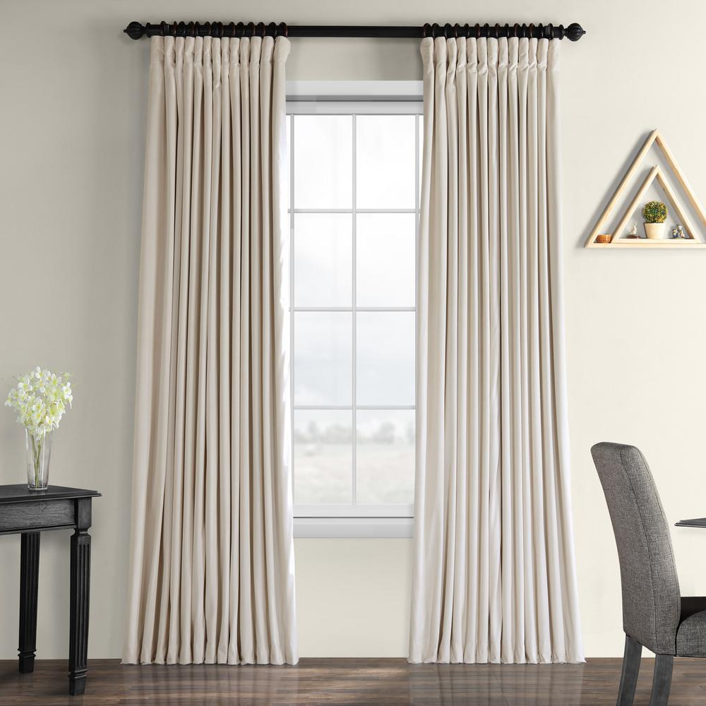 Well Known Signature Ivory Velvet Blackout Single Curtain Panels Pertaining To Exclusive Fabrics & Furnishings Blackout Signature Ivory Doublewide Blackout Velvet Curtain – 100 In. W X 108 In (View 6 of 20)