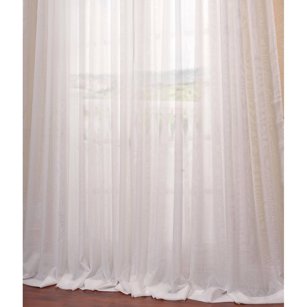 Well Known Signature White Double Layer Sheer Curtain Panels Intended For Exclusive Fabrics Signature Off White Extra Wide Double (View 8 of 20)