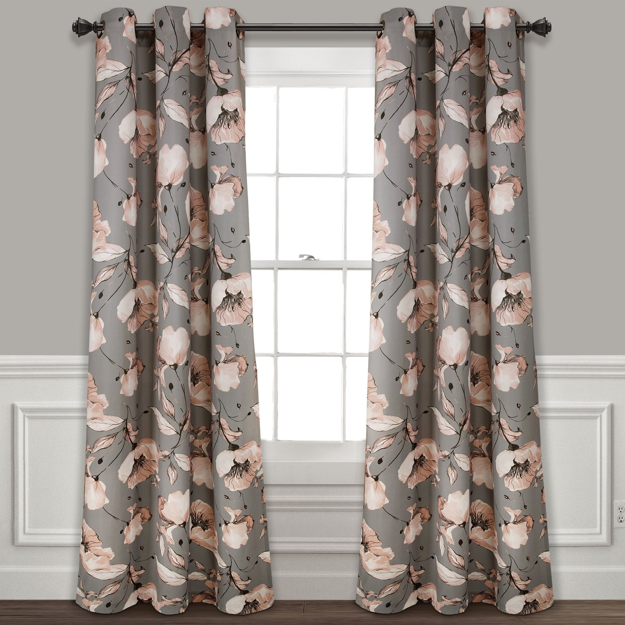 Well Known Silver Orchid Lane Blackout Window Curtain Panel Pair Pertaining To Gray Barn Dogwood Floral Curtain Panel Pairs (View 10 of 20)