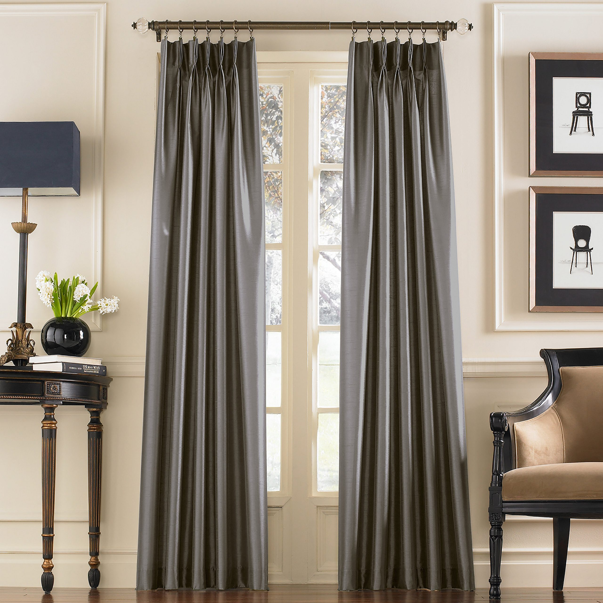 Well Known Solid Cotton Pleated Curtains For Mansour Solid Pinch Pleat Curtains/drapes (View 19 of 20)
