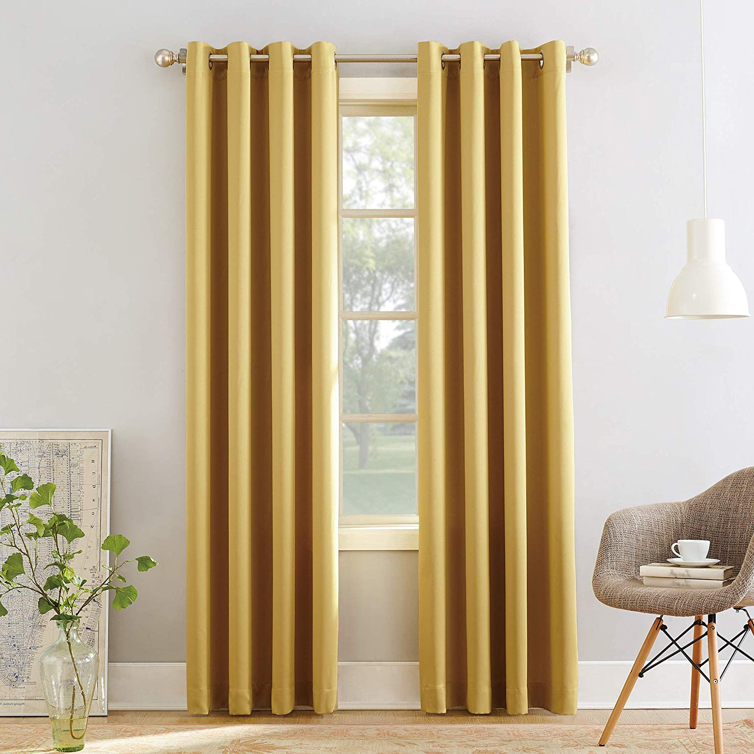 """Well Known Sun Zero Barrow Energy Efficient Grommet Curtain Panel, 54"""" X 95"""", Flax Yellow With Regard To Grommet Curtain Panels (View 15 of 20)"""