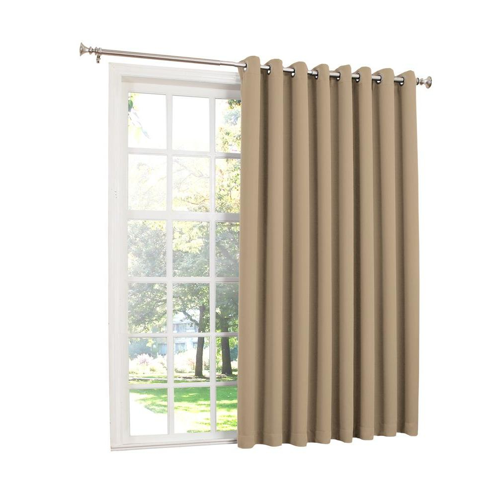 Well Known Sun Zero Semi Opaque Taupe Gregory Room Darkening Grommet Top Patio Panel, 100 In. W X 84 In (View 6 of 20)