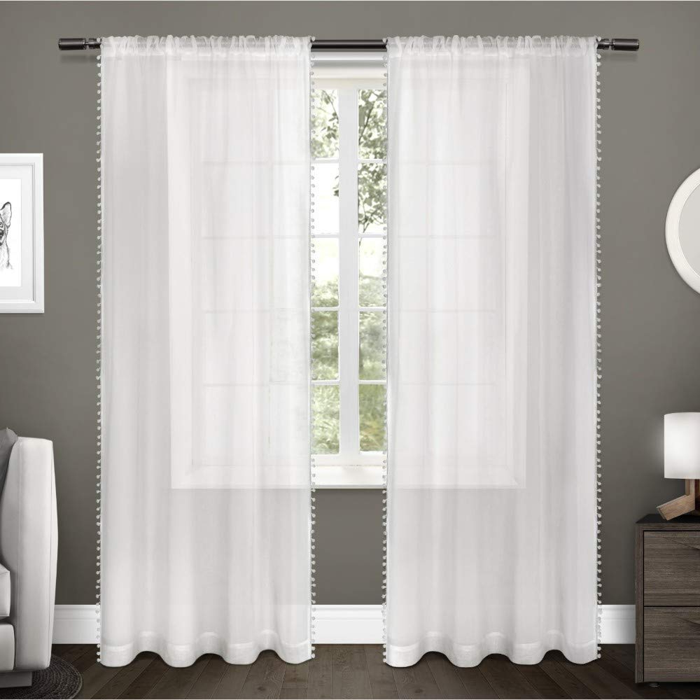 Well Known Tassels Applique Sheer Rod Pocket Top Curtain Panel Pairs Pertaining To Exclusive Home Curtains Pom Applique Bordered Textured Sheer Window Curtain  Panel Pair With Rod Pocket, 54X96, Winter White, 2 Piece (View 19 of 20)