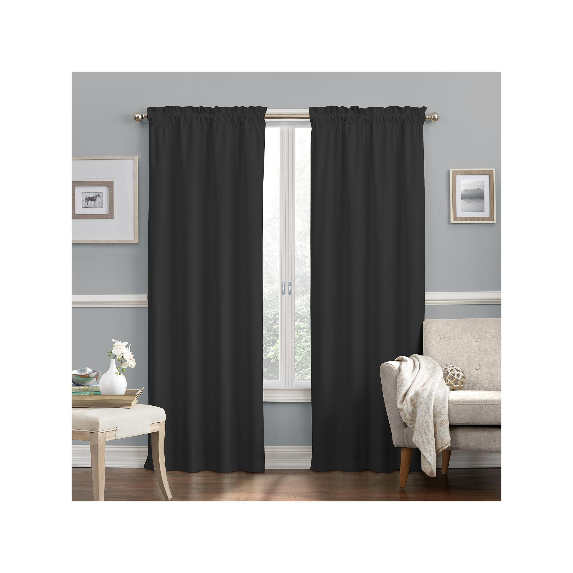 Well Known Thermaback Blackout Window Curtains Within Eclipse Faux Suede Thermaback Blackout Window Curtain (View 11 of 20)