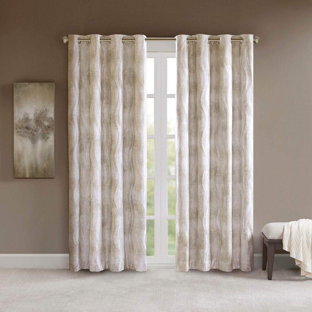 Well Known Total Blackout Metallic Print Grommet Top Curtain Panels Pertaining To Sunsmart Alastair Printed Jacquard Total Blackout Window (View 16 of 20)