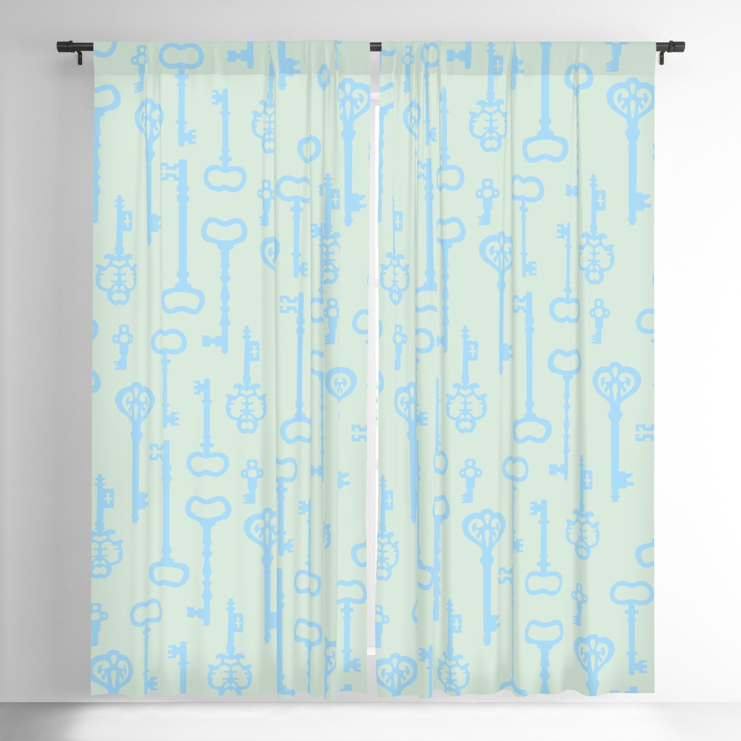 Well Known Victorian Pastel Turquoise Keys Blackout Curtainxooxoo Regarding Keyes Blackout Single Curtain Panels (View 14 of 20)