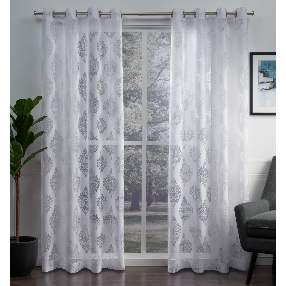 Well Known Wilshire Burnout Grommet Top Curtain Panel Pairs In Exclusive Home Curtains Birmingham Medallion Sheer Burnout Window Curtain Panel Pair With Grommet Top, 52x84, Winter White, 2 Piece (View 6 of 20)