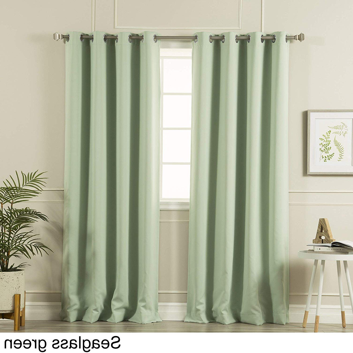 Well Liked Amazon: Aurora Home Silvertone Grommet Top Thermal Pertaining To Silvertone Grommet Thermal Insulated Blackout Curtain Panel Pairs (View 4 of 20)