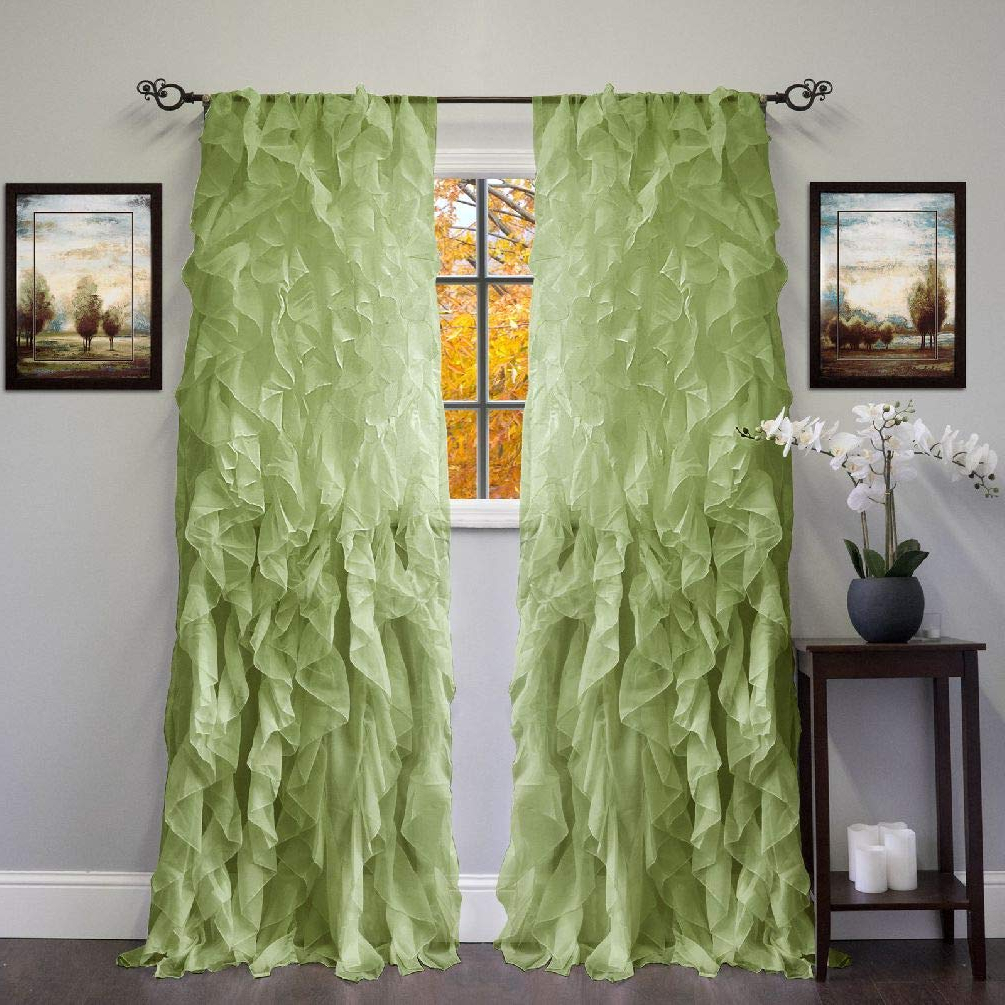 Well Liked Amazon: Chic Sheer Voile Vertical Ruffled Tier Window Regarding Sheer Voile Ruffled Tier Window Curtain Panels (View 18 of 20)