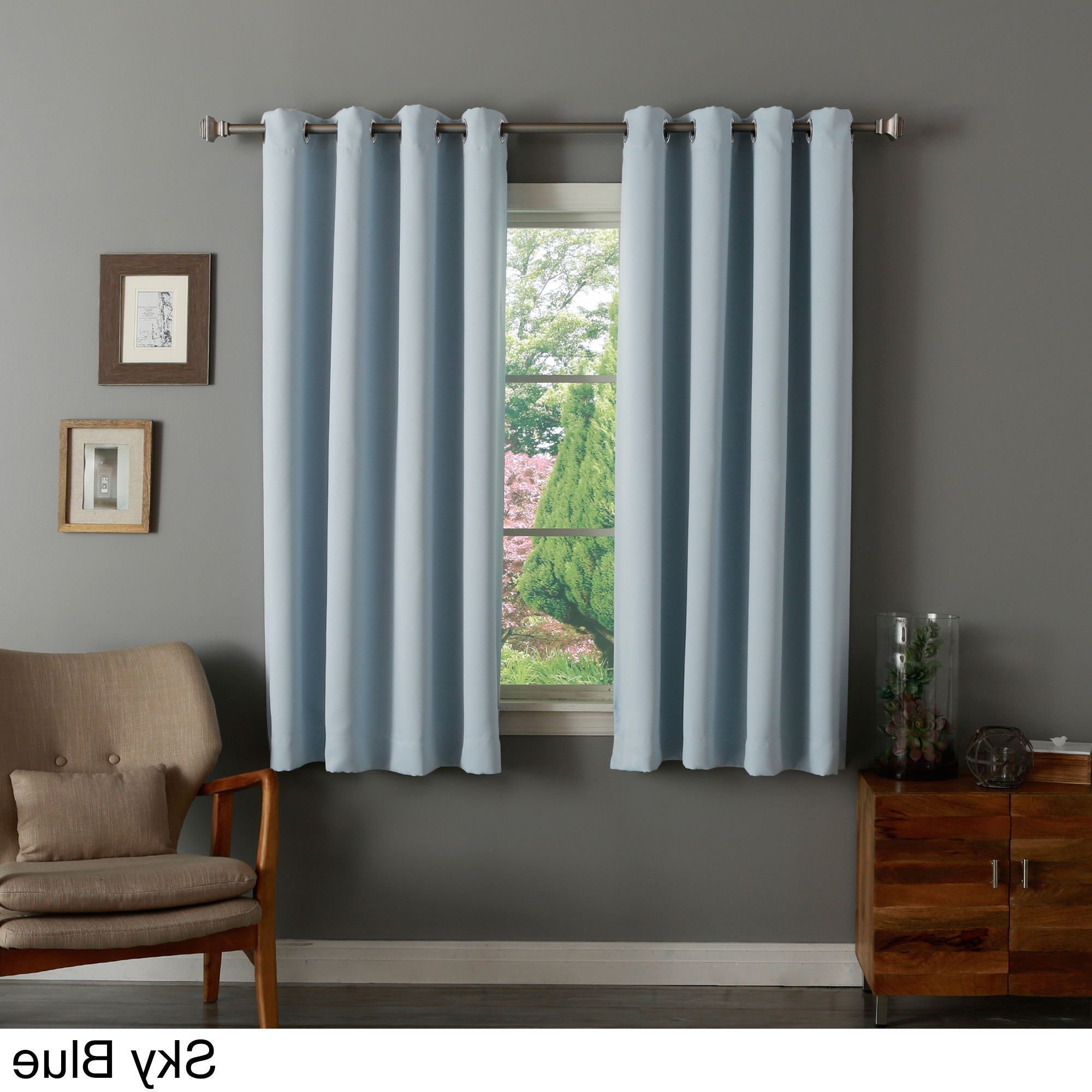 Well Liked Aurora Home 52 Inch X 63 Inch Silvertone Grommet Top Thermal With Regard To Silvertone Grommet Thermal Insulated Blackout Curtain Panel Pairs (View 13 of 20)