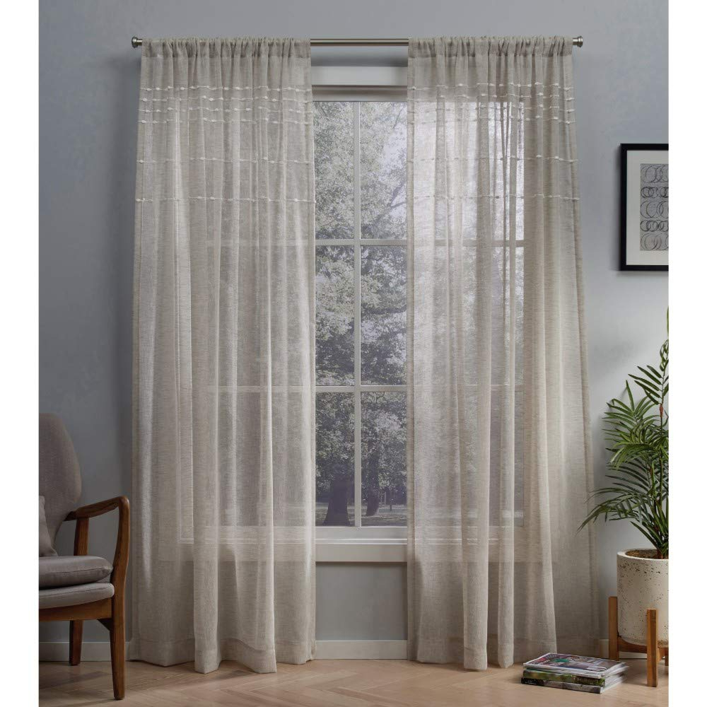 Well Liked Belgian Sheer Window Curtain Panel Pairs With Rod Pocket Inside Exclusive Home Curtains Davos Puff Embellished Belgian Linen Sheer Window Curtain Panel Pair With Rod Pocket, 54x84, 2 Piece (View 6 of 20)