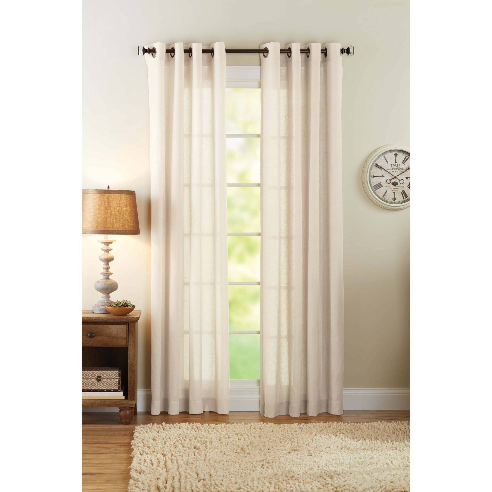 Well Liked Better Homes & Gardens Semi Sheer Grommet Curtain Panel, Bleached Linen – Walmart Pertaining To Grommet Curtain Panels (View 10 of 20)