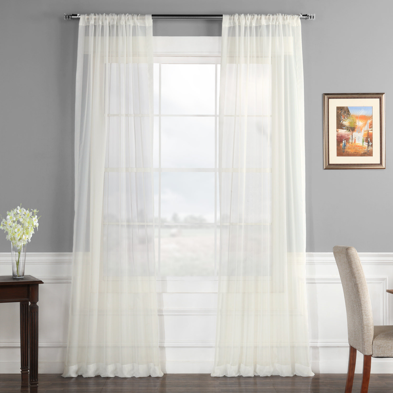 Well Liked Emie Solid Sheer Rod Pocket Curtain Panels Regarding Rod Pocket Curtain Panels (View 6 of 20)