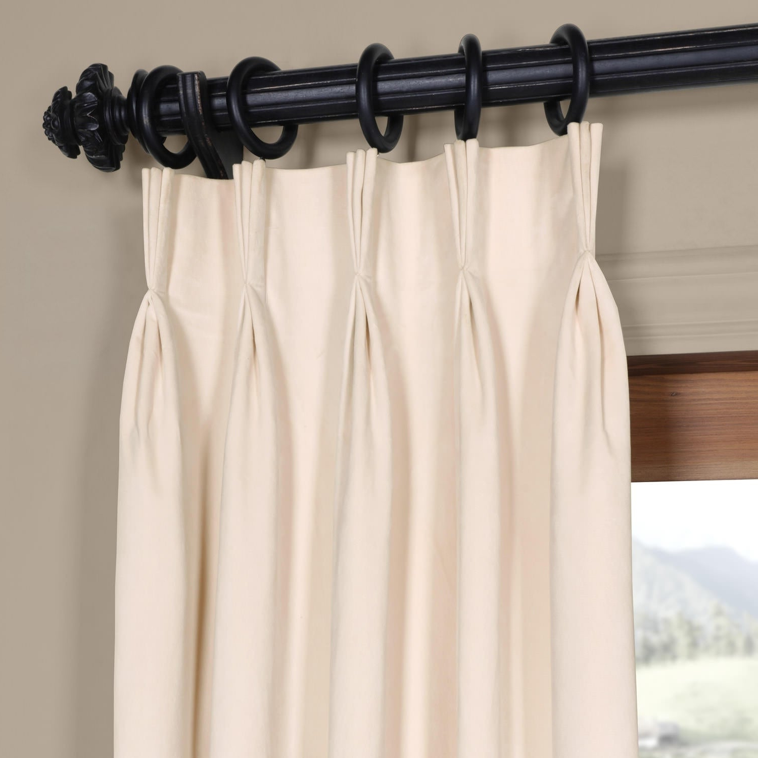 Well Liked Exclusive Fabrics Signature Pinch Pleated Blackout Solid Velvet Curtain  Panel Pertaining To Solid Cotton Pleated Curtains (View 20 of 20)